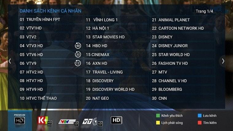 Tính năng Danh sách yêu thích trên truyền hình cáp FPT