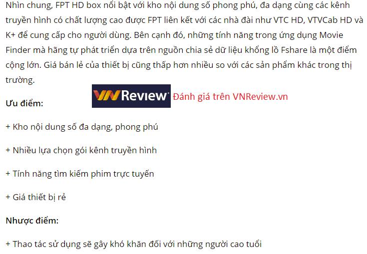 Review internet truyen hinh cáp FPT trên VNReview.vn