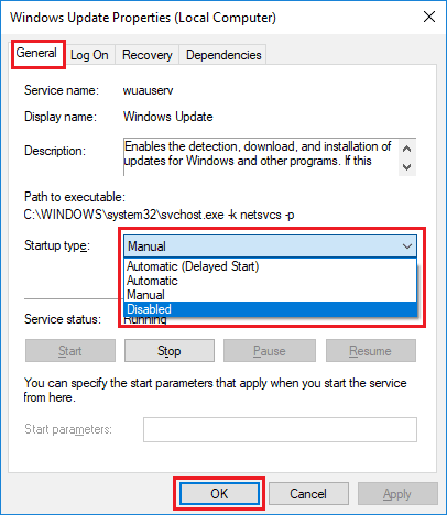 Tắt cập nhật Windows 10 bằng services.msc