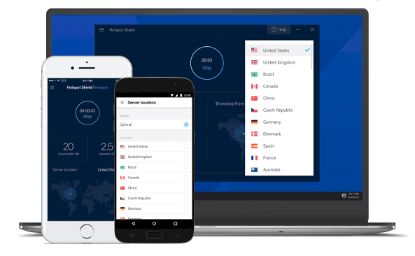Phần mềm Fake IP Hotspot Shield VPN