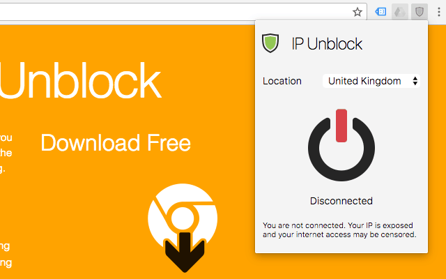 Lựa chọn quốc gia Fake IP trên Chrome bang Addon IP Unblock